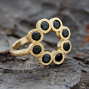 Gold And Black Spinel Rosette Ring - rings