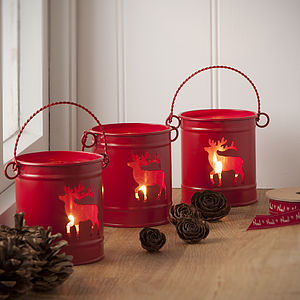 Red Tea Light Bucket Lantern - lighting
