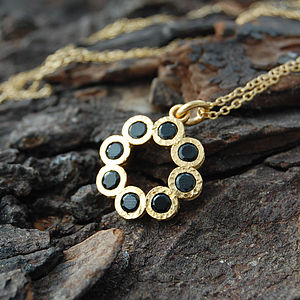 Gold And Black Spinel Rosette Pendant - necklaces & pendants