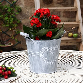 'Heart' French Grey Storage Bucket