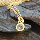 Gold And White Topaz Dot Pendant