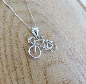 Silver Bicycle Pendant And Chain - necklaces & pendants