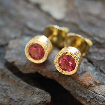 Gold And Pink Tourmaline Dot Stud Earrings