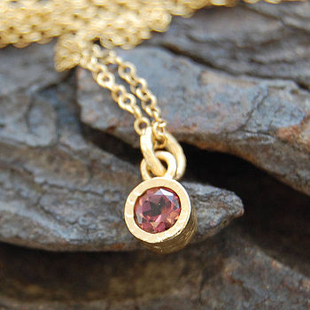 Gold And Pink Tourmaline Dot Pendant
