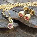 Gold And Pink Tourmaline Dot Necklace And Earrings Set