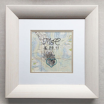 Vintage framed cotton map with hand-embroidered heart, date and initials