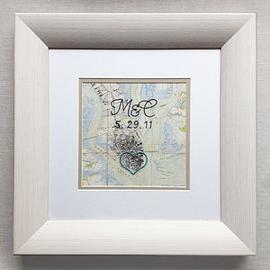 Personalised Framed Cotton Embroidered Map - home accessories