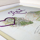 Vintage framed cotton map with hand-embroidered heart and initials