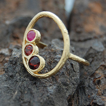 Gold Organic Oval Ruby Ring