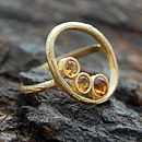 Gold Organic Oval Citrine Ring