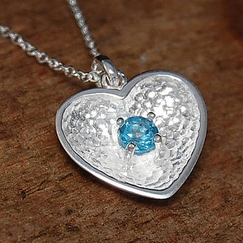 Silver And Blue Topaz Scoop Heart Pendant