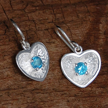 Silver And Blue Topaz Heart Earrings