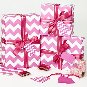 Recycled Pink Chevron White Wrapping Paper - ribbon & wrap