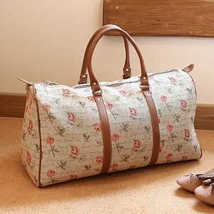 Personalised English Rose Barrell Bag, Purse Shopper - holdalls & weekend bags
