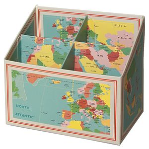 World Map Pencil Box And Desk Tidy - stationery