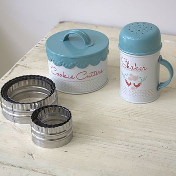 Enamelware shaker and cookie cutter tin