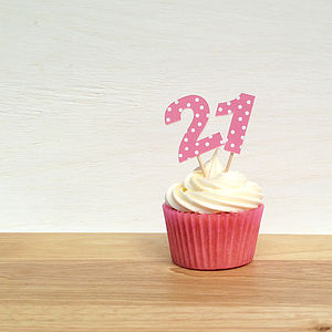 12 Pink Spotty Number Cupcake Toppers - special age birthday cards