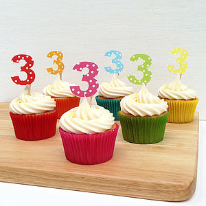 12 Spotty Number Cupcake Toppers - cake decoration