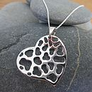 Silver Lacy Heart Pendant And Chain