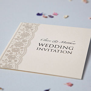 Personalised Lace Wedding Invitation Set - wedding stationery