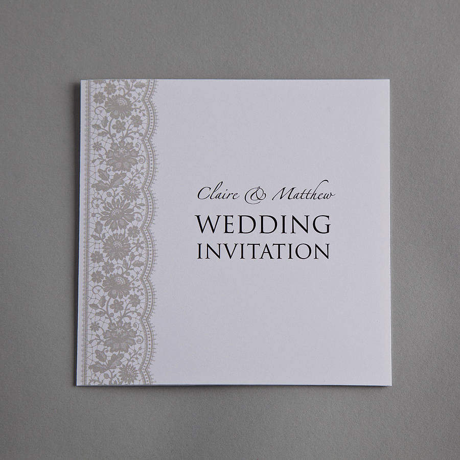 Wedding Invitations With Lace: Personalised Lace Wedding Invitation Set By Twenty-seven
