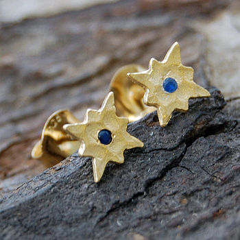 Gold And Blue Sapphire Star Earrings
