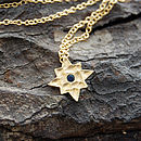 Gold And Blue Sapphire Star Pendant