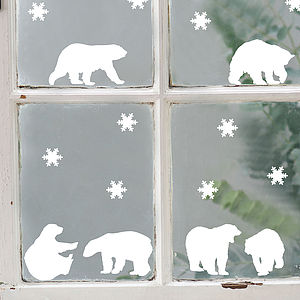 Polar Bears Vinyl Stickers - christmas wall stickers