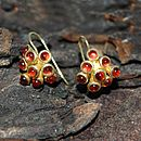 Gold And Garnet Cluster Earrings
