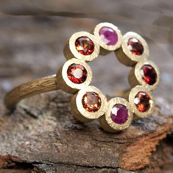 Gold Garnet And Ruby Birthstone Rosette Ring