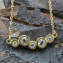 Gold White Topaz Cellular Necklace