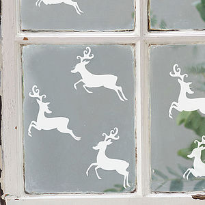 Set Of Six Reindeer Vinyl Stickers - view all decorations