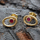 Gold Ruby Organic Oval Studs