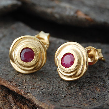 Gold And Ruby Swirl Stud Earrings