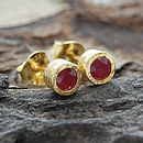 Gold And Ruby Dot Stud Earrings