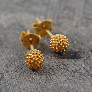 18k Gold Tiny Bubble Stud Earrings - earrings