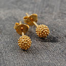 18k Gold Tiny Bubble Stud Earrings