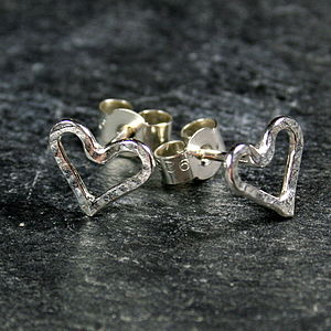 Open Heart Stud Earrings - earrings