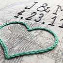 Vintage framed cotton map with hand embroidered heart, intials and date in narrow script font