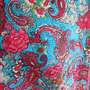 Blue with Pink Flowers fabric Patterm