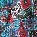 Blue Red Flower Fabric Pattern