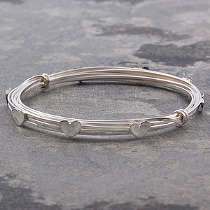 Heart Wrapped Wire Silver Bangle - bracelets & bangles