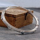 Heart Wrapped Wire Silver Bangle