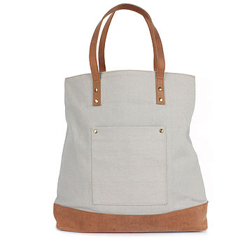 Canvas Mumbai Tote Bag, Light Grey