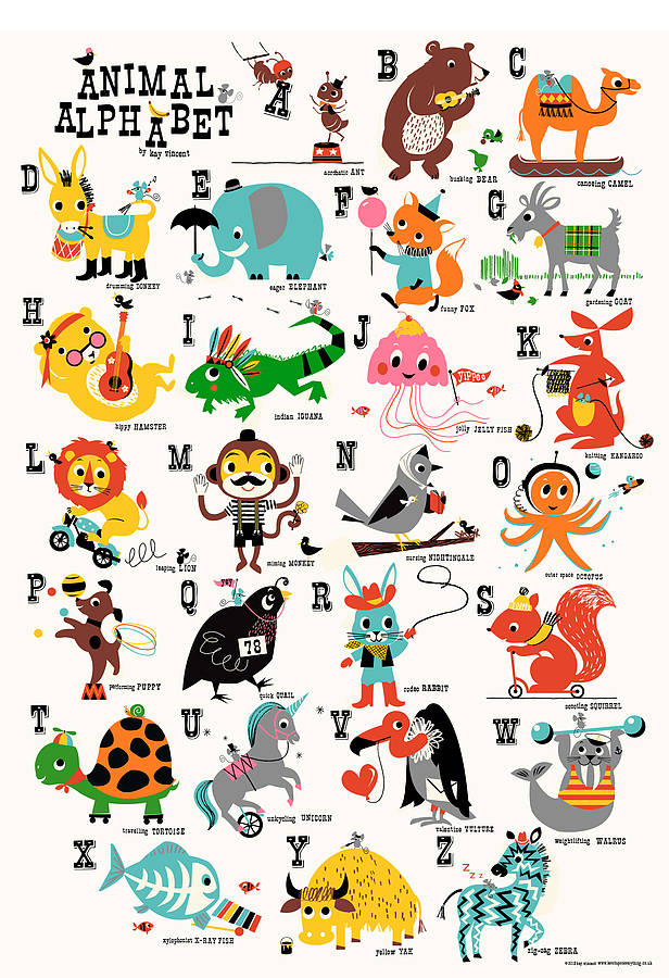 animal alphabet childrens nursery print - Alphabet Pictures For Kids