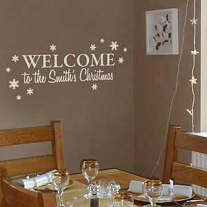 Personalised Welcome To Our Christmas - wall stickers
