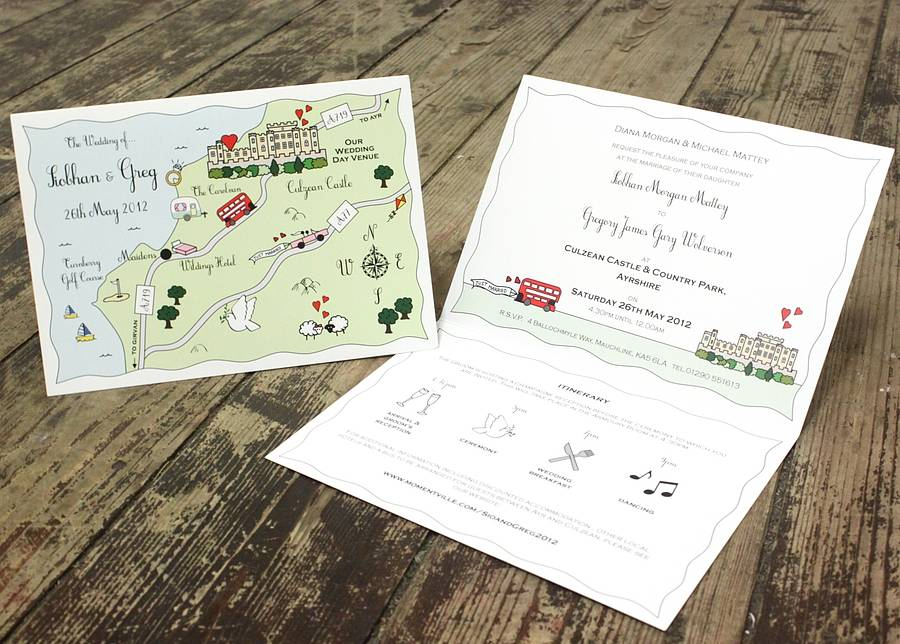 illustrated map wedding or party invitation by cute maps ...