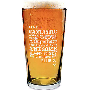 Personalised Etched Dad Glass