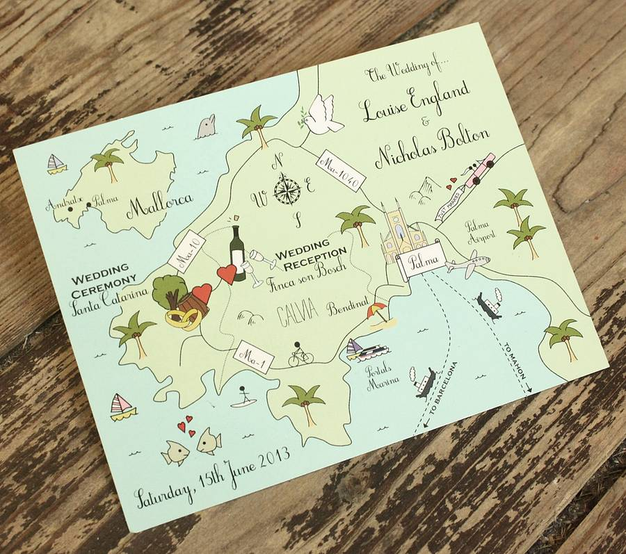 Wedding Invitation Postcard: Illustrated Map Party Or Wedding Invitation By Cute Maps