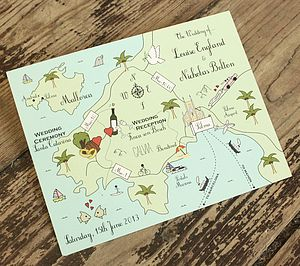 Wedding Or Party Map Full Colour Postcard - wedding stationery